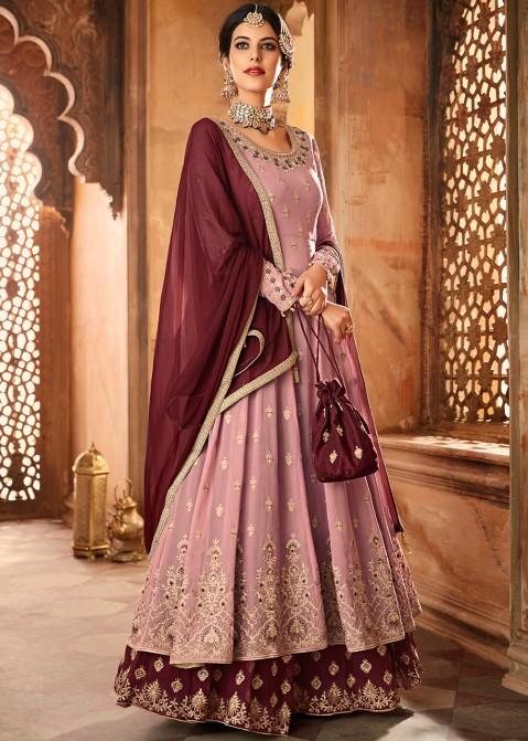 fcf85c93ef Mauve Purple Embroidered Flared Kurti Style Lehenga Online Shopping in New  York