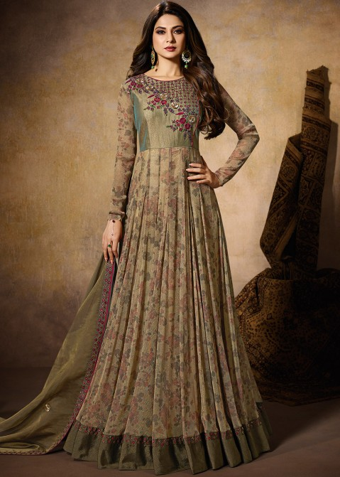 23c23cbe6923 Eid Dresses  Buy Olive Green Lycra Anarkali Suits Collection Online. Tap to  expand