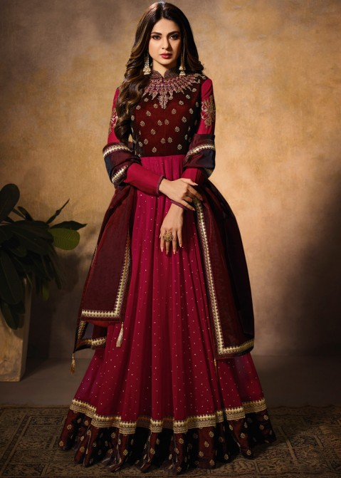af01b6cde Indian Clothes: Buy Maroon Abaya Style Pakistani Salwar Kameez Online