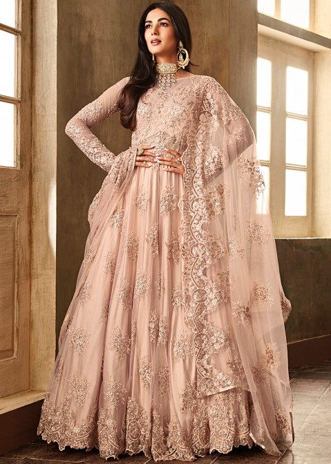 f0dcea858 Sonal Chauhan Pastel Peach Embroidered Pakistani Salwar Kameez Online  Shopping USA. Tap to expand