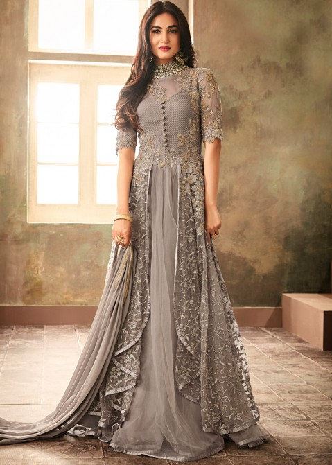 f3002ddcd Sonal Chauhan Grey Twin Layered Net Indian Salwar kameez online Shopping.  Tap to expand