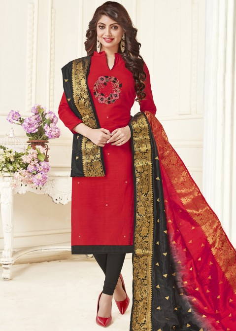 17e688bbb9 Red Cotton Straight Cut Salwar Suit 2568SL02