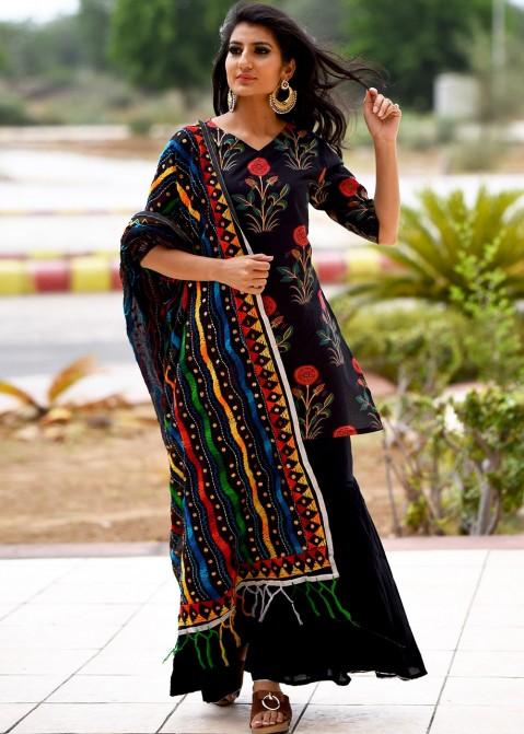 ea18ee15a9 Black Readymade Printed Sharara Suit 2612SL11