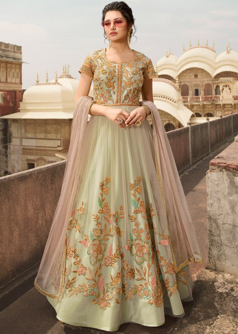 a155005cd8 Pink And Green Gown Style Anarkali Suit Latest 2621SL03