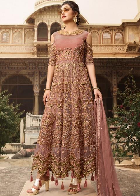 3a185bc9db Dusty Pink Embroidered Net Anarkali Style Pakistani Salwar Kameez Shopping  Online