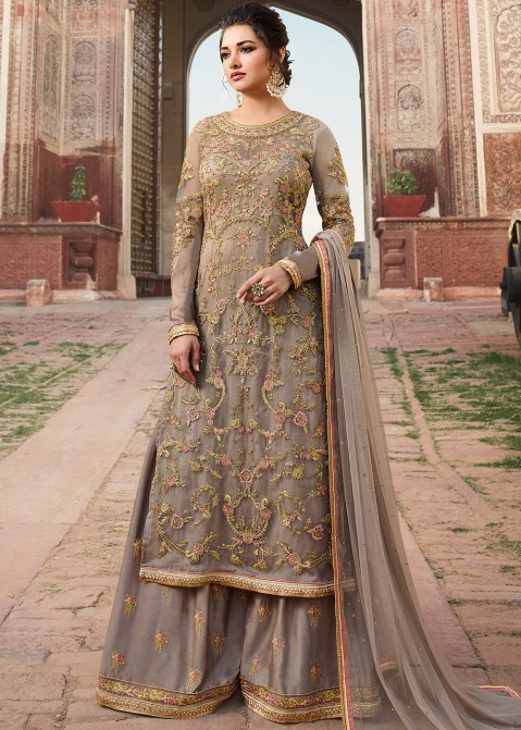 28315fa8cd Grey Embroidered Pakistani Palazzo Suit Latest 2621SL07