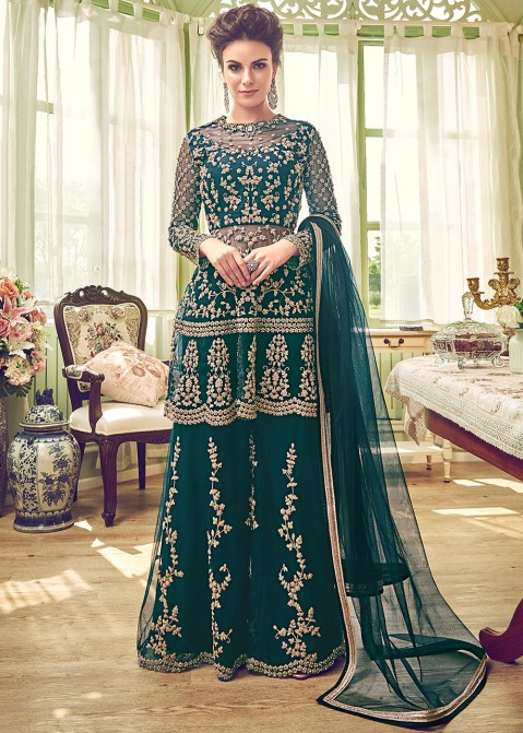 790c3d3b5b Eid Collection 2019: Buy Dark Green Embroidered Bridal Palazzo Suit Online  in USA