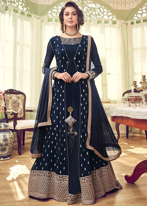 fd03897d0e Navy Blue Embroidered Anarkali Jacket Style Pakistani Salwar Kameez