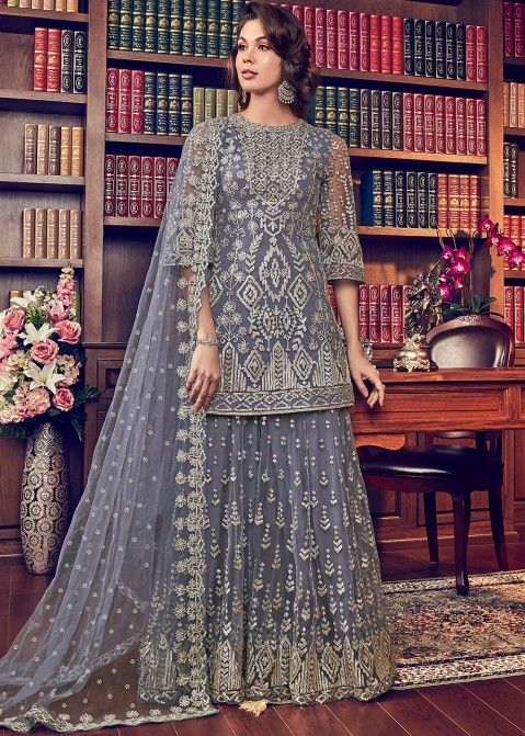 6c0a6192a9 Eid Outfits 2019: Buy Grey Heavy Embroidered Pakistani Sharara Suit Online  in USA