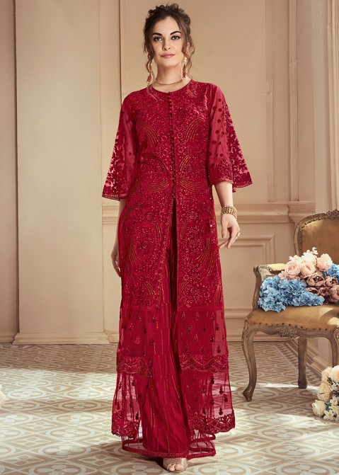e876d2596ce Maroon Embroidered Jacket Style Palazzo Suit 2641SL01