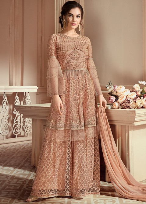 6bb9662aa5 Indian Designer Dresses: Buy Beige Embroidered Pakistani Salwar Kameez  Online in USA