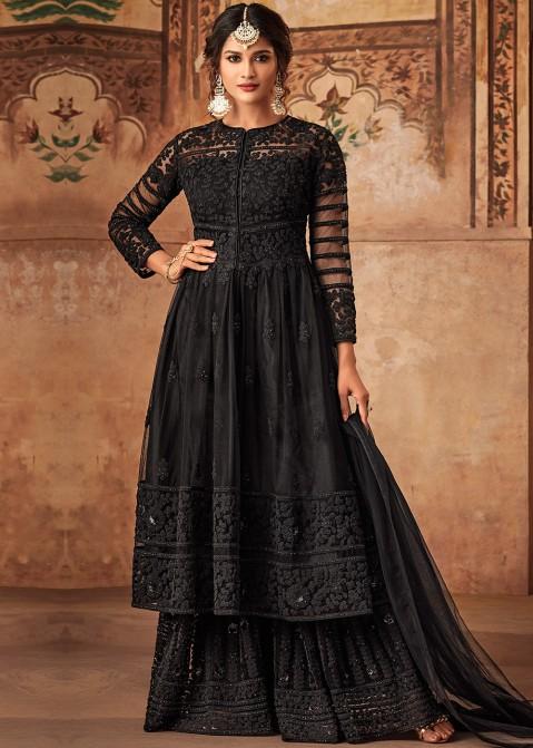 0cb93036c1 Black Net Embroidered Pakistani Sharara Suit. Buy Black Net Embroidered  Pakistani Salwar Kameez Online USA