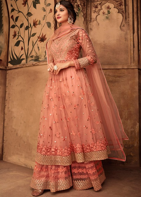 584ff0e553 Indian Designer Dresses: Buy Peach Net Embroidered Pakistani Shalwar Suit  Online