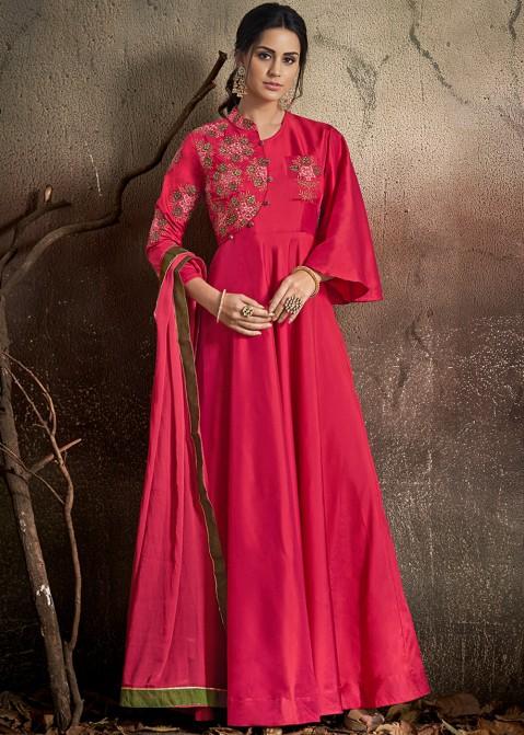 6648c9cd92 Rani Pink Readymade Gown Style Salwar Kameez 2685SL01