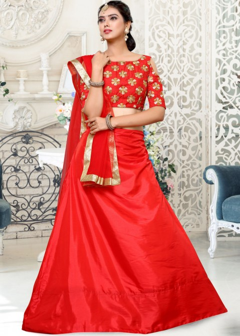 32ce747f755d60 Red Art Silk Cold Shoulder Indian Lehenga Choli Online Shopping with  Dupatta in USA