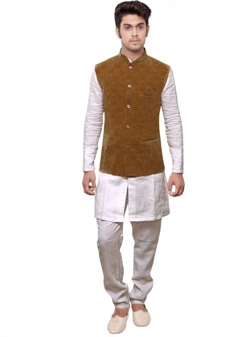 c1239d3dec872 White Kurta Pajama With Brown Nehru Jacket 175MW02