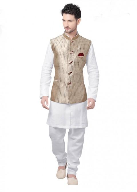 b01d5ddc188 Buy White Kurta Pajama With Golden Designer Nehru Jacket for Men