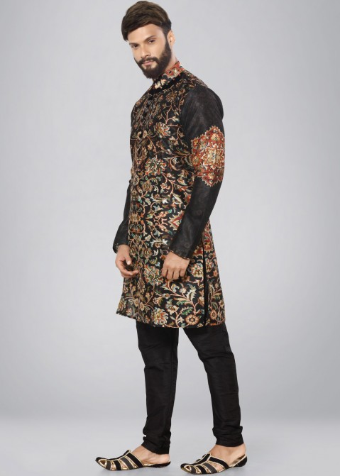 2a7cf47d6b9d Black Printed Dupion Silk Kurta Churidar Set 188MW08