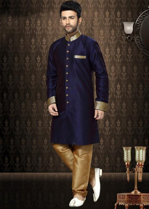 1f15095016 Buy Readymade Indian Dark Blue Art Silk Wedding Sherwani Dress for Men  Online in USA