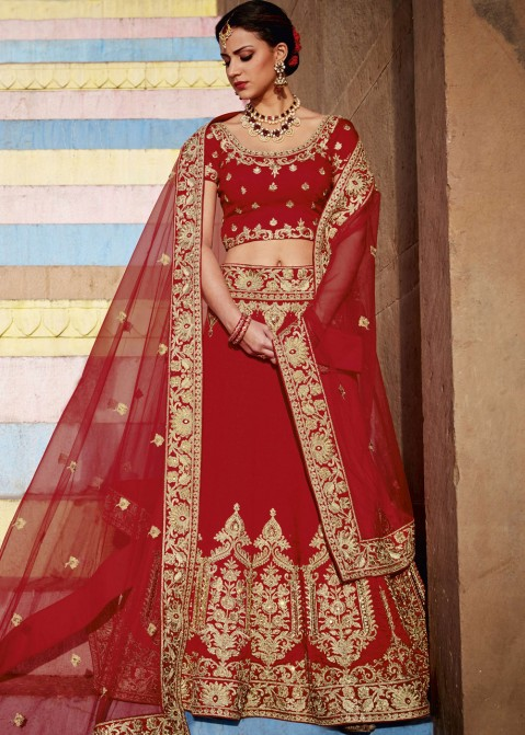 b363243cf4 Buy Red Art Silk Designer Bridal Lengha Choli Online for Women in USA