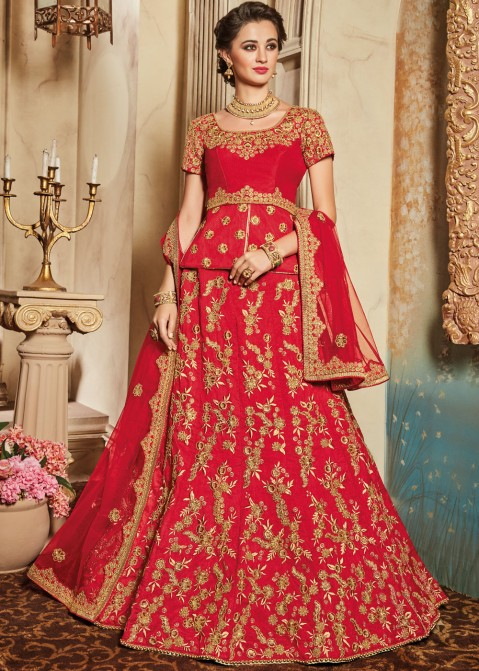 145ae3c0ec Buy Red Art Silk Peplum Style Designer Bridal Lehenga Choli Online in USA