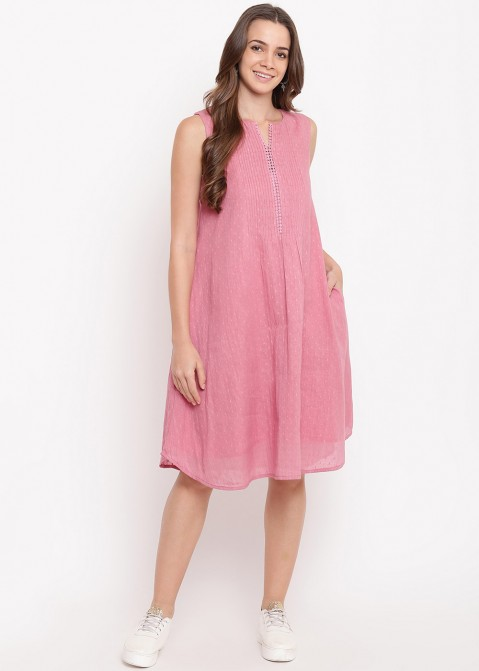 68b2f7d6c7a Pink Pin-Tucks Dobby Indo Western Dress 441KR12