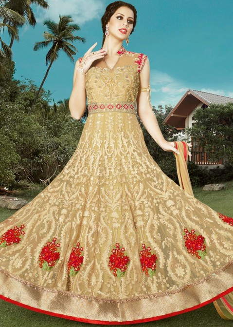 18caa92cd7 Golden Embroidered Anarkali Suit 1378SL06