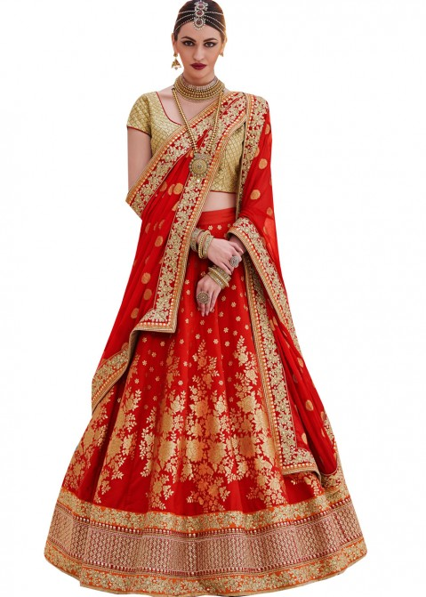 1132aab1a Red Brocade Silk Lehenga Choli Most Loved Styles 1404LG11