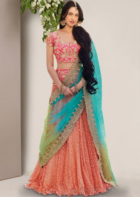 8831cffe06 Lehenga Choli: Buy Peach Frilled Edge Indian Net Lehenga Choli Online USA