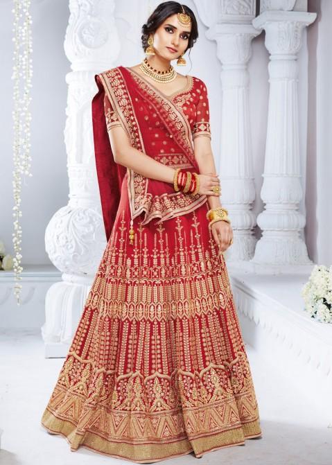 5c24672a5d Red Embroidred Bridal Lehenga Choli 1366LG07