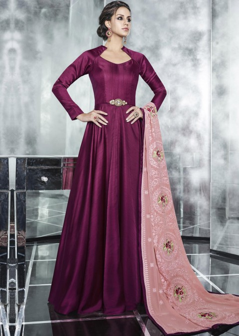 70941a33b234 Indian Gowns Online  Buy Magenta Indian Gown With Dupatta in USA