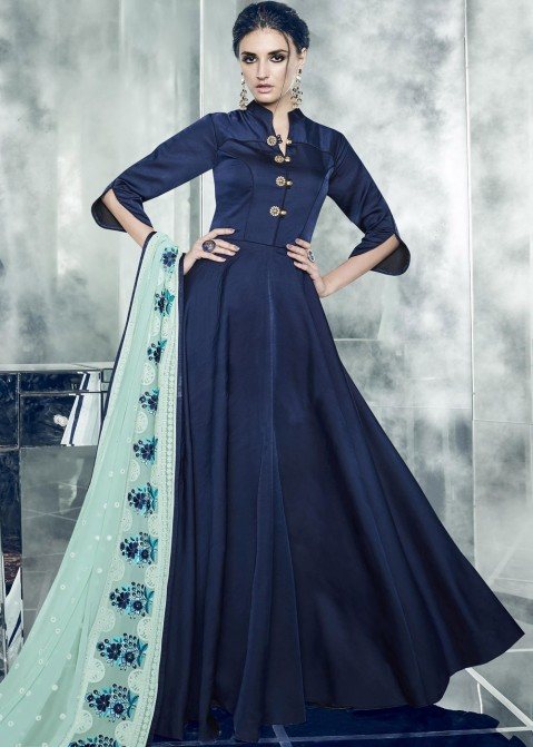 902b42d86e3bd Buy Navy Blue Indian Gown Online With Embroidered Dupatta in USA