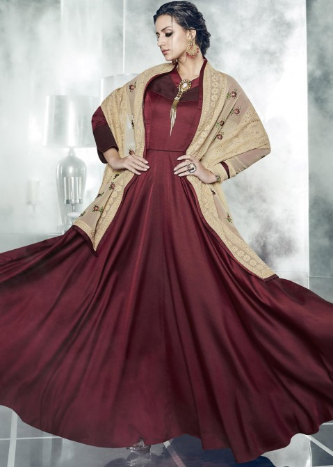 a5372b8c80 Maroon Gown With Embroidered Dupatta 161GW05