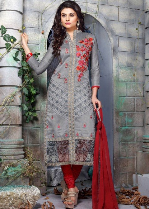 4d18c01adea Grey Chanderi Straight Cut Cotton Salwar Kameez Online. Tap to expand