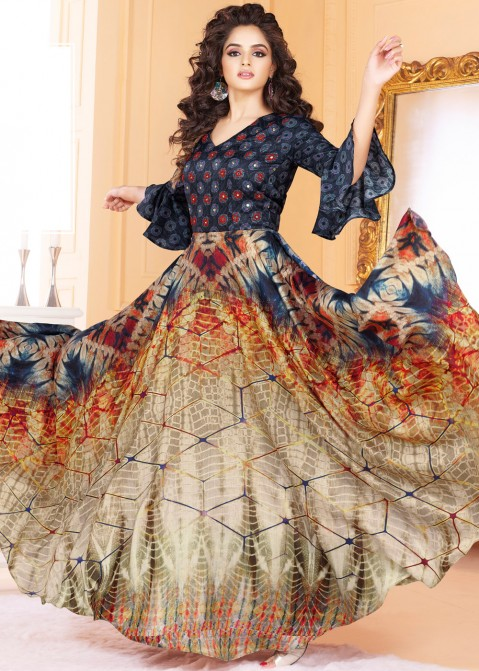 0e2c2bcc4bc Multicolor Tussar Silk Printed Indian Gown Indo Western 155GW01