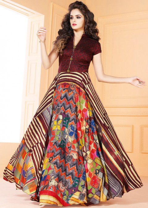 6d8a7d6f165 Multicolor Tussar Silk Digital Printed Indian Gown Indo Western 155GW05