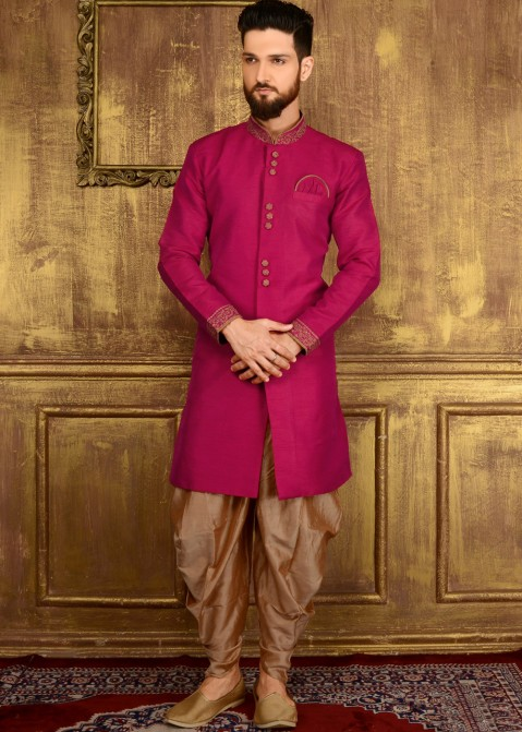 5e7d26360a74 Male Indian Clothing  Buy Readymade Magenta Art Silk Wedding Sherwani for Men  Online