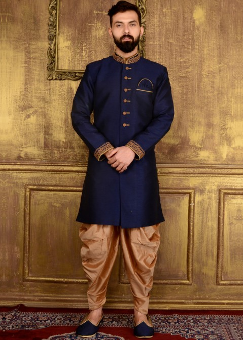 9e130618ed34 Indian Men Clothing: Buy Readymade Dark Blue Art Silk Wedding Sherwani for  Men