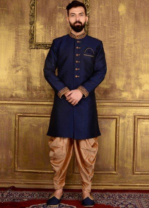 7eed7f5f96 Indian Men Clothing  Buy Readymade Dark Blue Art Silk Wedding Sherwani for  Men