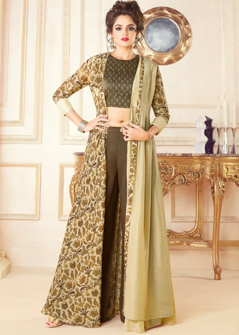 b2226d5a9 Indo Western Dress: Buy Brown Art Silk Top Palazzo Set With Jacket Online