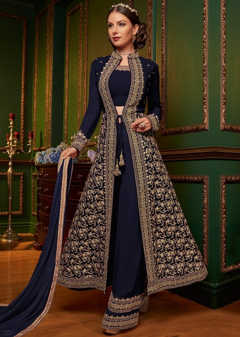 7485337a9a Navy Blue Front Slit Embroidered Palazzo Suit Salwar Kameez 2479SL15