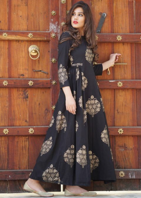 437b61f8f0 Indo Western Dresses: Buy Readymade Black Block Printed Cotton Maxi Online