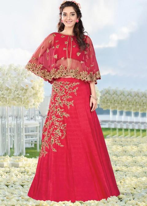 372dda8fa9 Party Wear Lehenga Choli: Buy Pink Cape Style Silk Lehenga Online