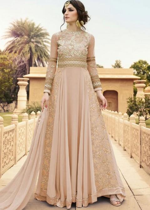 8b0630bed9 Buy Flared Peach Georgette Anarkali Salwar Suit Online