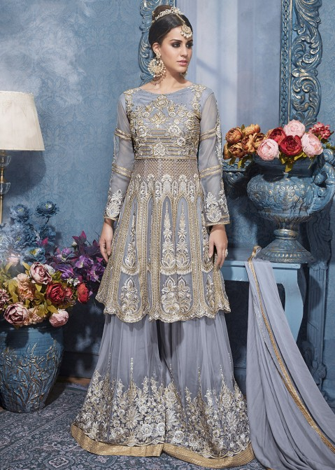 82e7d5fd26 Eid Dresses: Buy Light Grey Sharara Suit Online With Dupatta in USA