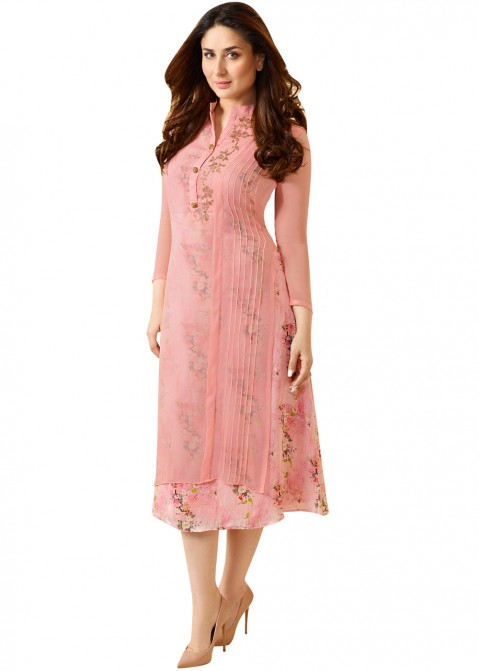 9047e08adc146 Readymade Kareena Kapoor Pink Georgette Tunic Indo Western 242KR06