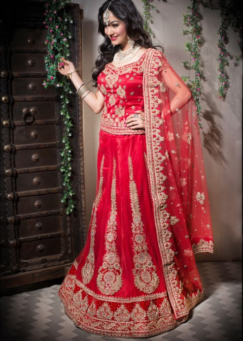 df288a0a4db Red Net Embroidered Indian Bridal Lehenga Choli Online Shopping in USA