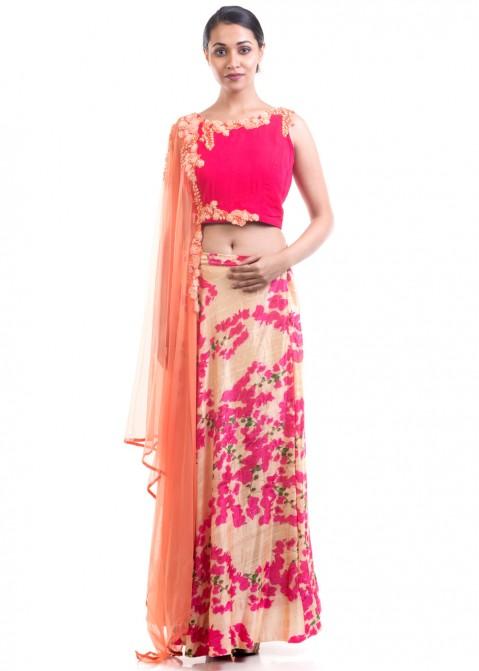 8963b9839dc727 Pastel Peach Lehenga Choli With Attached Dupatta Designer Couture ...
