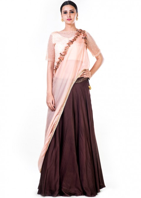 039131832b Brown Satin Lehenga Choli With Attached Dupatta 1752LG01