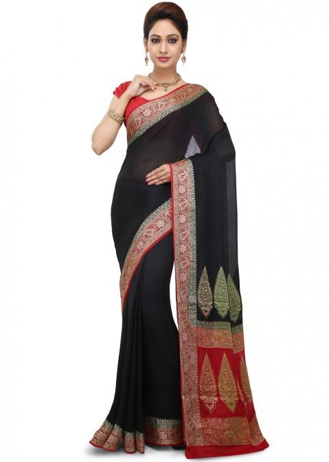 d853a2debbb673 Black Woven Saree in Pure Banarasi Silk Festive Fancy Collection ...